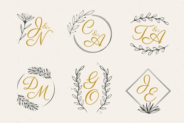 Floral wedding monograms Free Vector