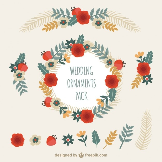 Floral wedding ornaments pack