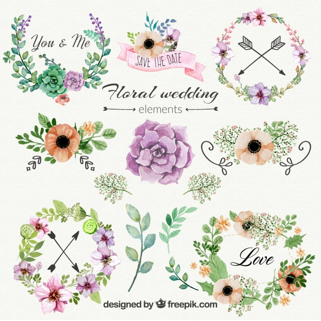 Floral wedding ornaments Free Vector