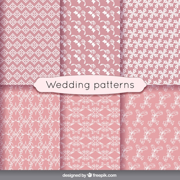 floral wedding patterns in vintage style vector free download