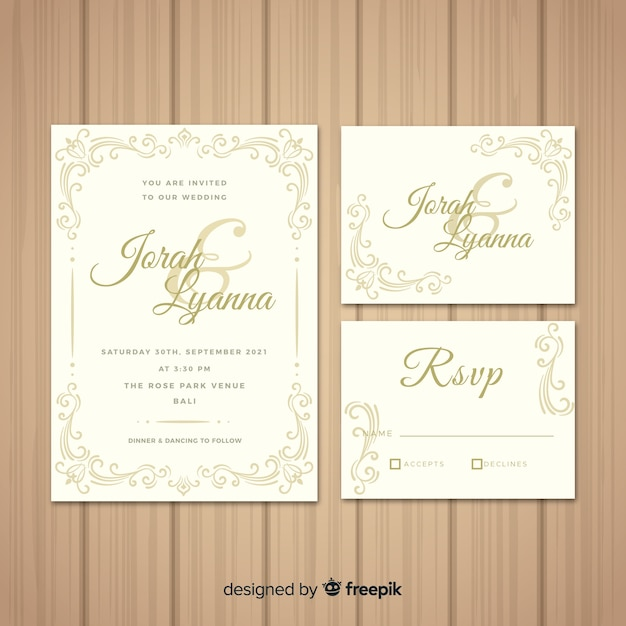 Floral wedding stationary template collection Free Vector