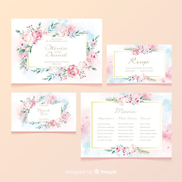 Floral wedding stationery card Free Vector