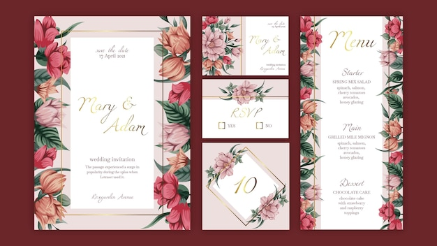 Floral wedding stationery collection template Premium Vector