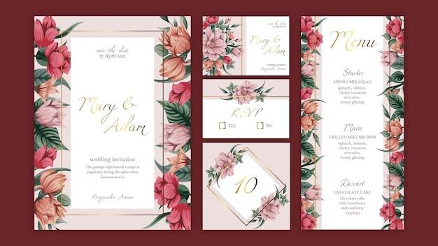 花の結婚式の文房具コレクションテンプレート Premiumベクター