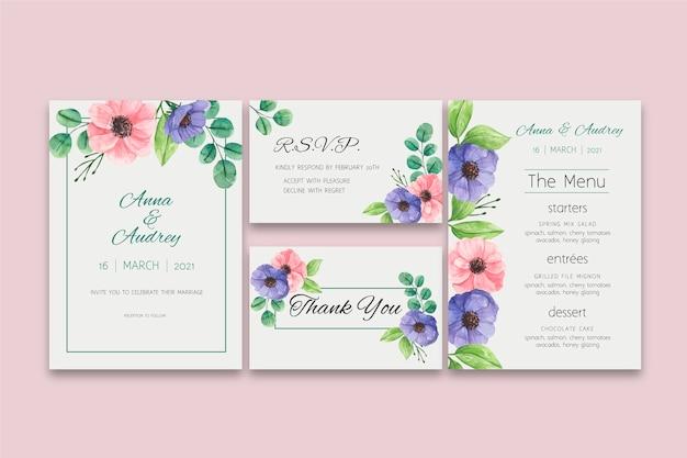 Collezione di cancelleria per matrimonio floreale Vettore gratuito