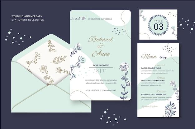 花の結婚式の文房具コレクション 無料ベクター