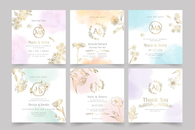 Floral wedding stationery collection Free Vector