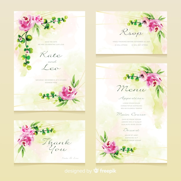 Floral wedding stationery template  collection Free Vector