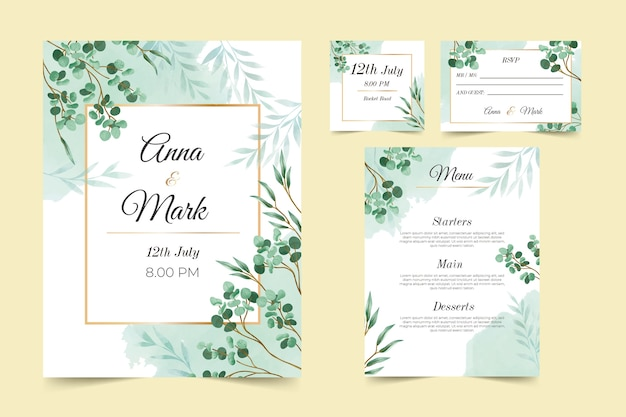 Floral wedding stationery template collection Premium Vector