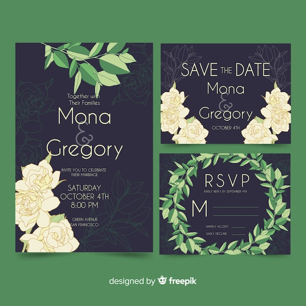 Floral wedding stationery template pack Free Vector