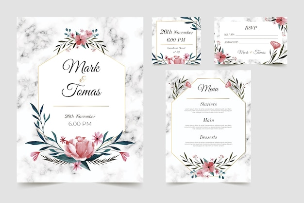 Floral wedding stationery template set Free Vector