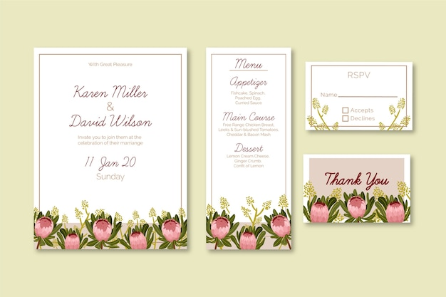 Floral wedding stationery template Free Vector