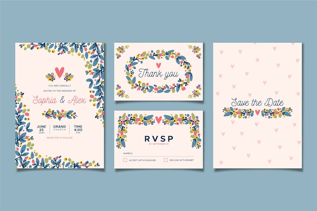 Floral wedding stationery Free Vector