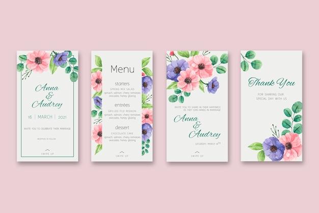 花の結婚式の物語 無料ベクター