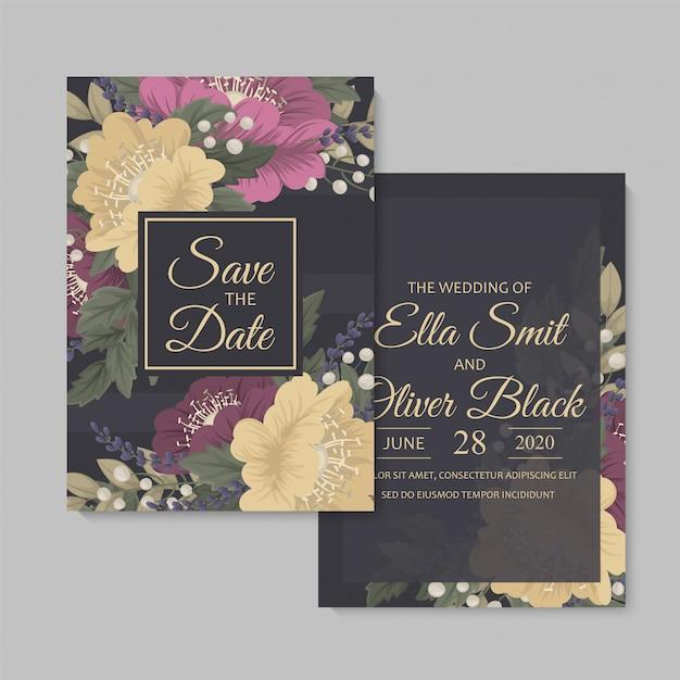 Floral wedding template  dark floral card Premium Vector