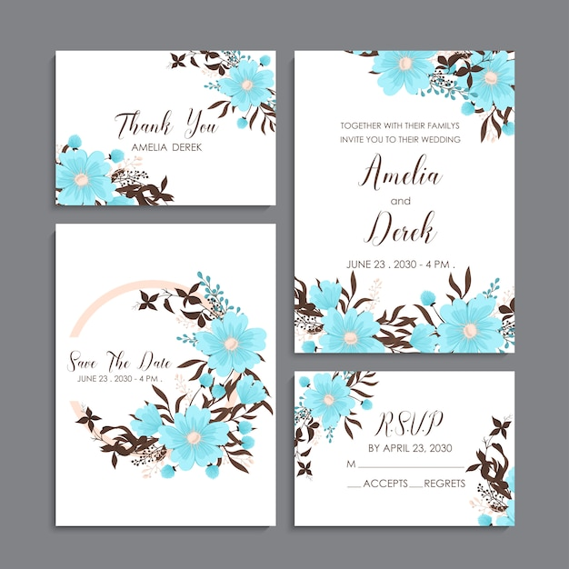 Floral wedding template - light blue floral cards Free Vector