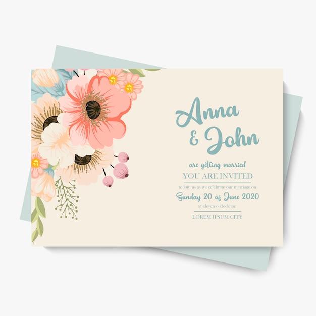 Floral wedding template  pastel flowers Premium Vector