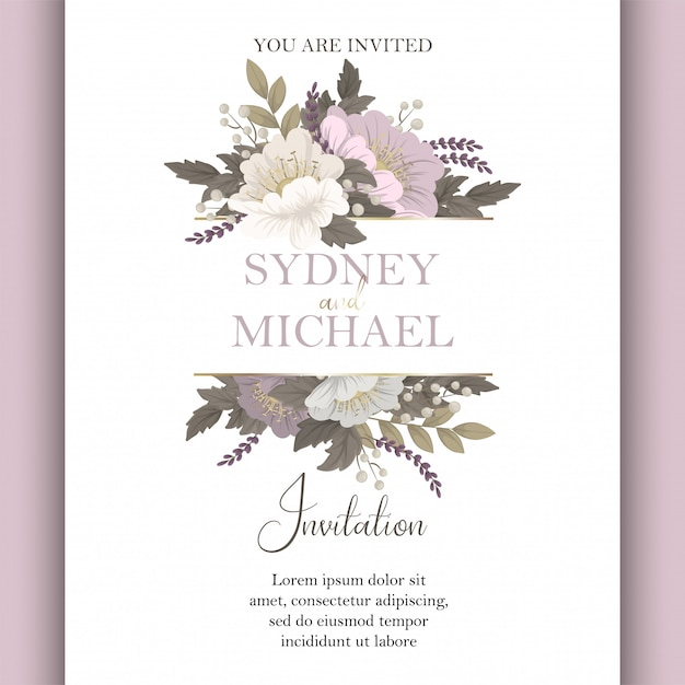 Floral wedding template  pink floral card Free Vector