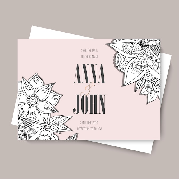 Floral wedding template - pink floral card Free Vector