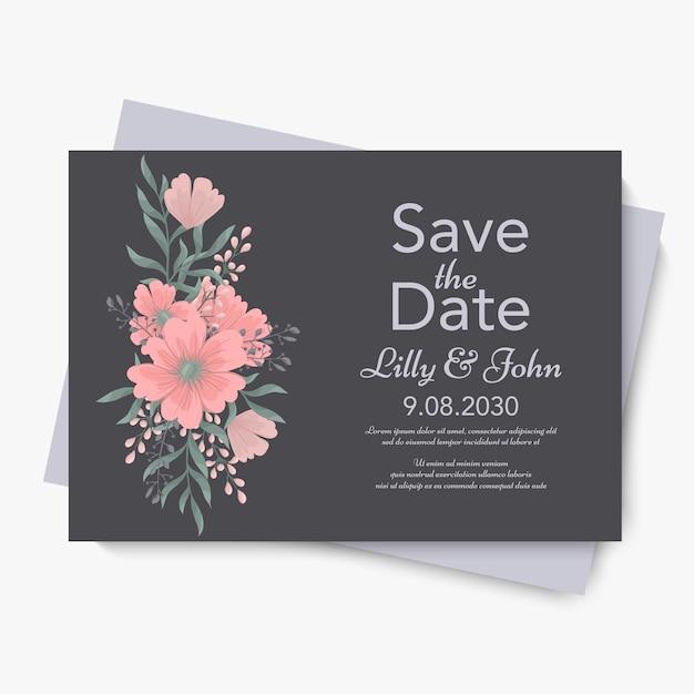 꽃 웨딩 템플릿-핑크 꽃 카드 무료 벡터