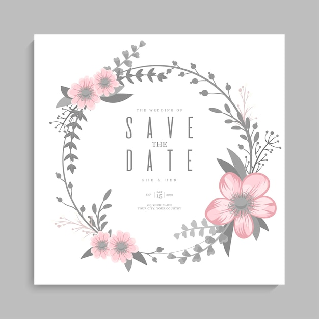 花の結婚式のテンプレート-ピンクの花の花輪 無料ベクター