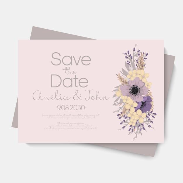 Modello di matrimonio floreale - carta floreale viola Vettore gratuito