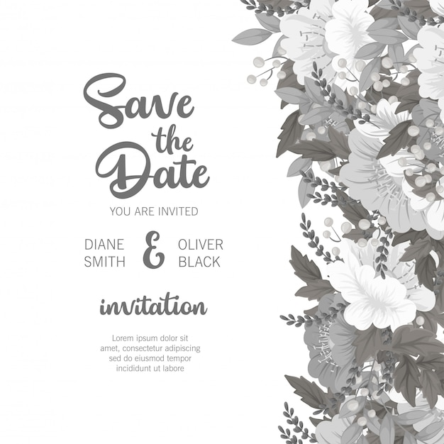 Floral wedding template  white and black floral card Free Vector