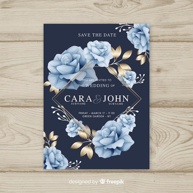 Floral wedding template with golden elements Free Vector