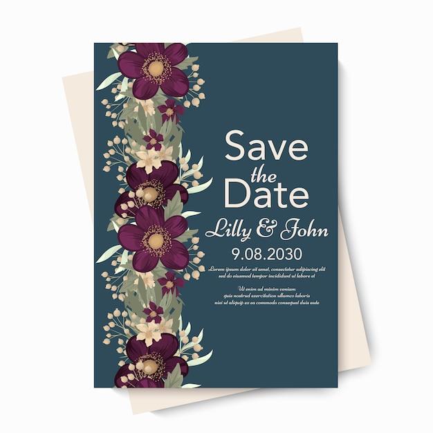 Floral wedding vector template Free Vector