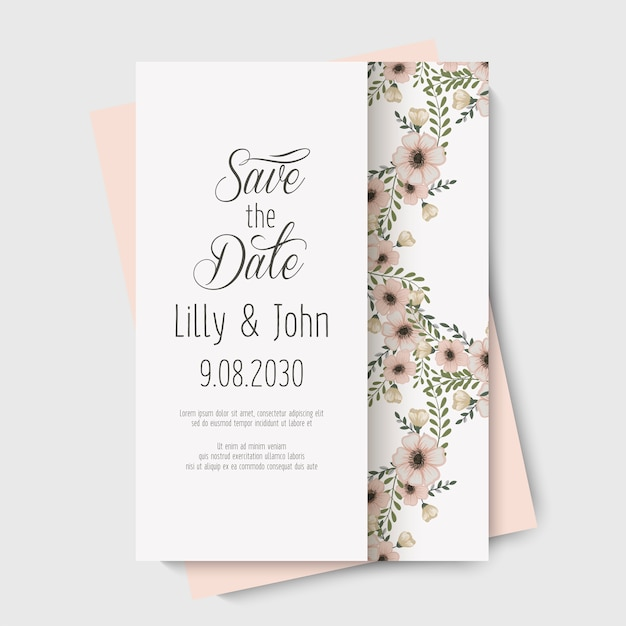 Floral wedding vector template Free Vector