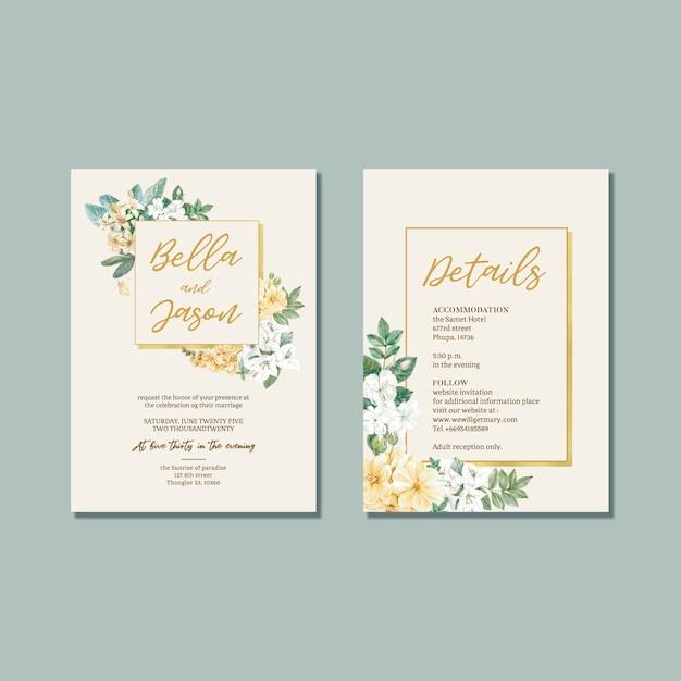 Floral weeding card set Free Vector