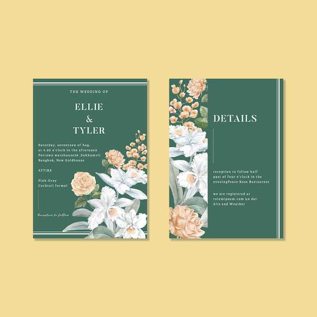Floral weeding card set Free Vector
