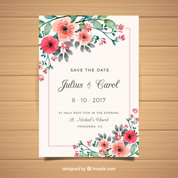 Floral Weeding Invitation Card Vector Free Download