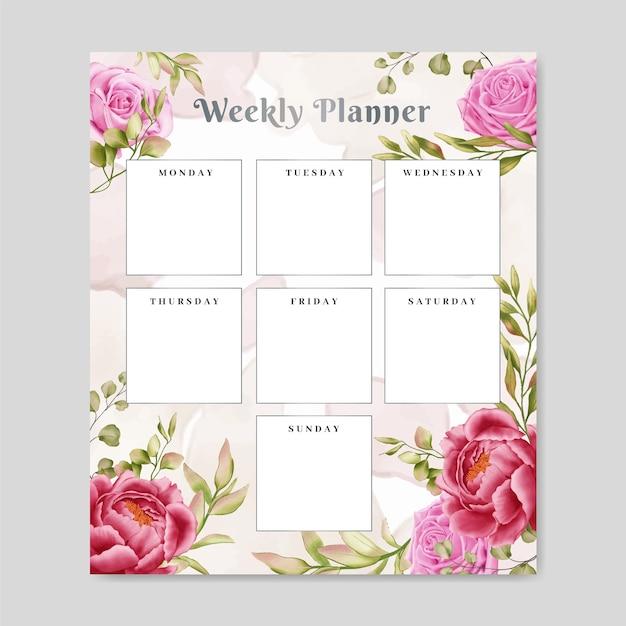 Floral weekly planner notepad Premium Vector