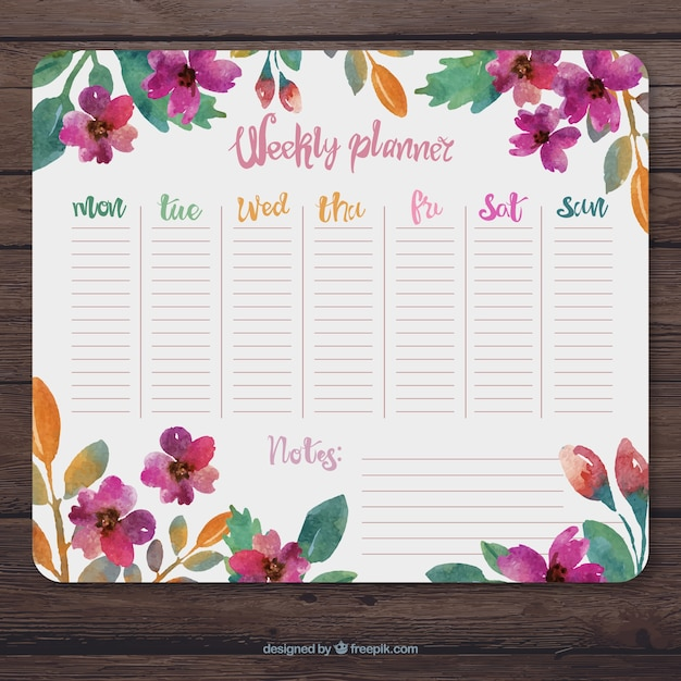 Floral Weekly Planner With Watercolors Vector Premium Download