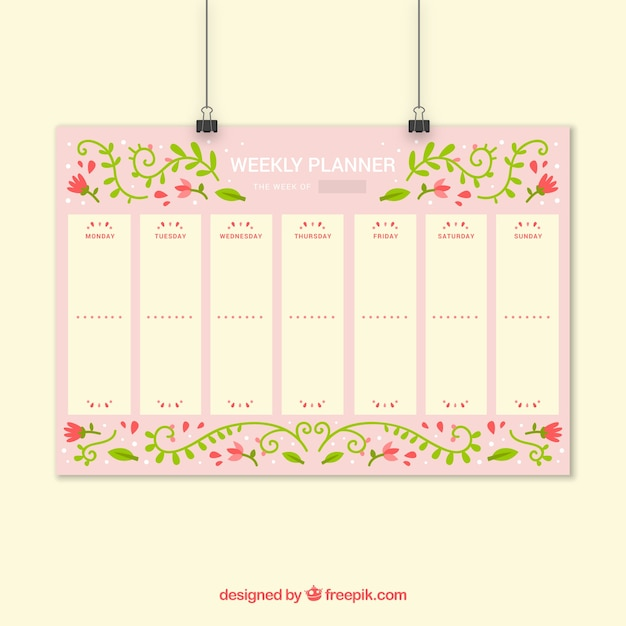 Floral Weekly Planner Vector Free Download