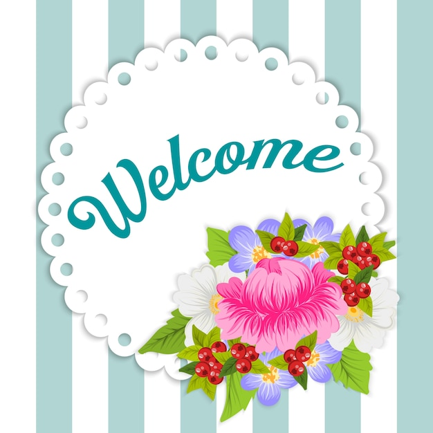 Floral Welcome Card Vector Free Download