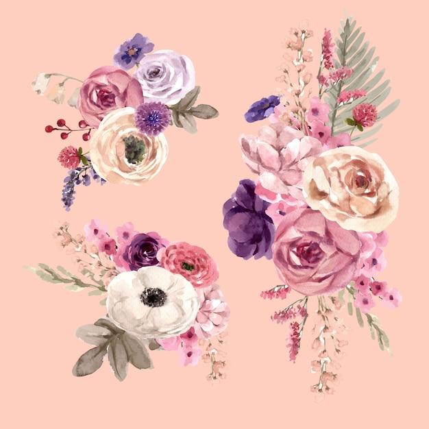 Цветочный букет вина с mouquet, розы, лизиантус акварельные иллюстрации. Бесплатные векторы