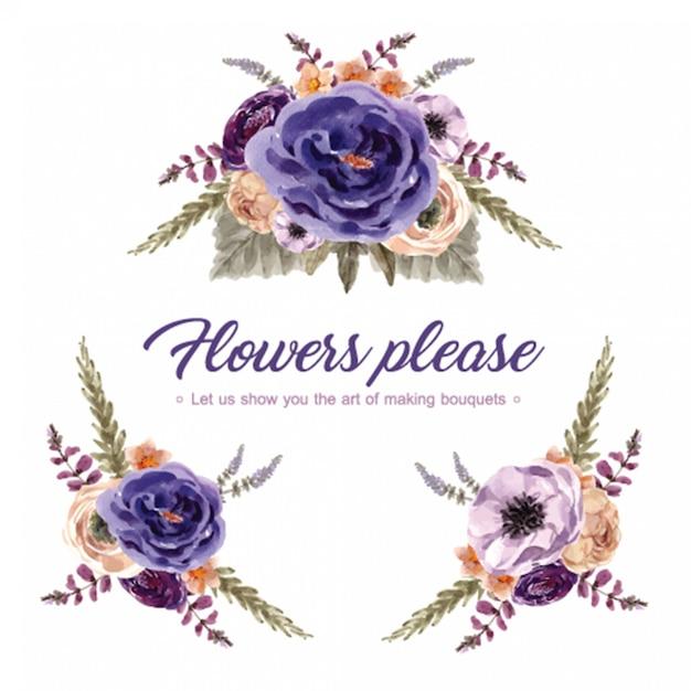 Флористический букет вина с рябиной, хризантемой, иллюстрацией акварели люпина. Бесплатные векторы
