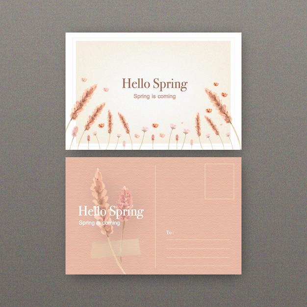 花の水彩イラストと花のワインのポストカード。 無料ベクター