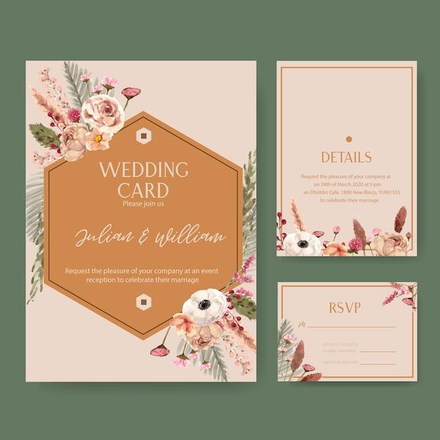 Свадебная цветочная открытка с рябиной, хризантемой, статицей, акварелью Бесплатные векторы