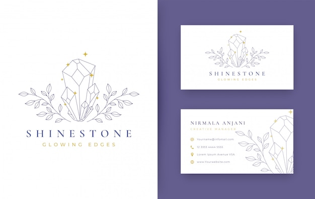 Floral with jewelry minimal logo design with business card Premium Vector