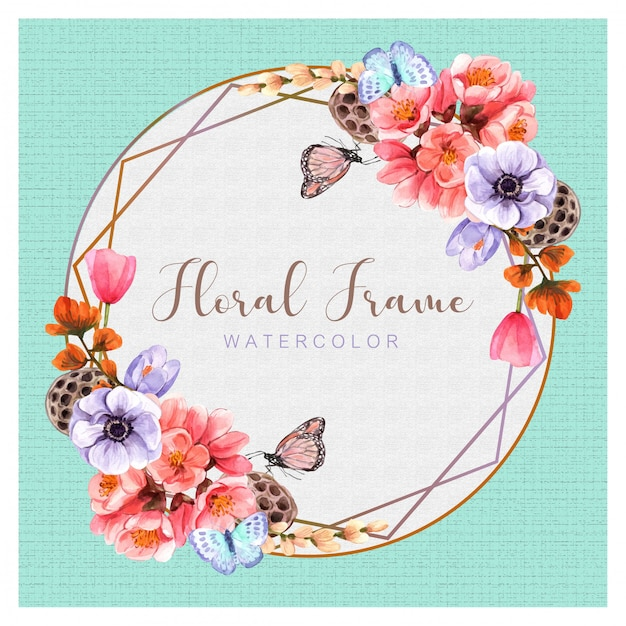 Floral with watercolor painting design, illustration, background Premium Vector