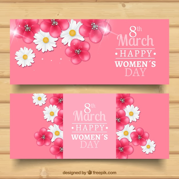 Floral woman day banners Free Vector