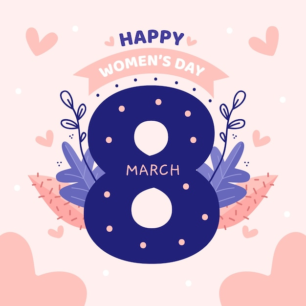 Floral women's day lettering on pink background Free Vector