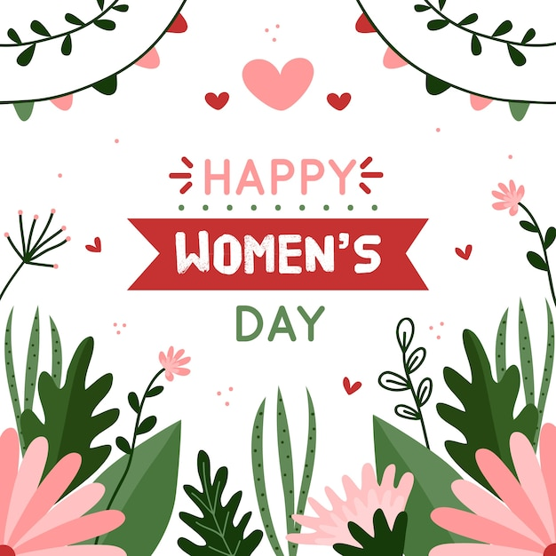 Floral women's day lettering Free Vector