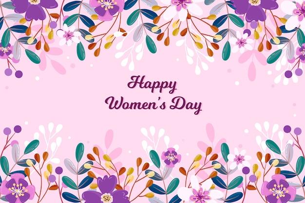 Цветочный женский день с красочными цветами Бесплатные векторы