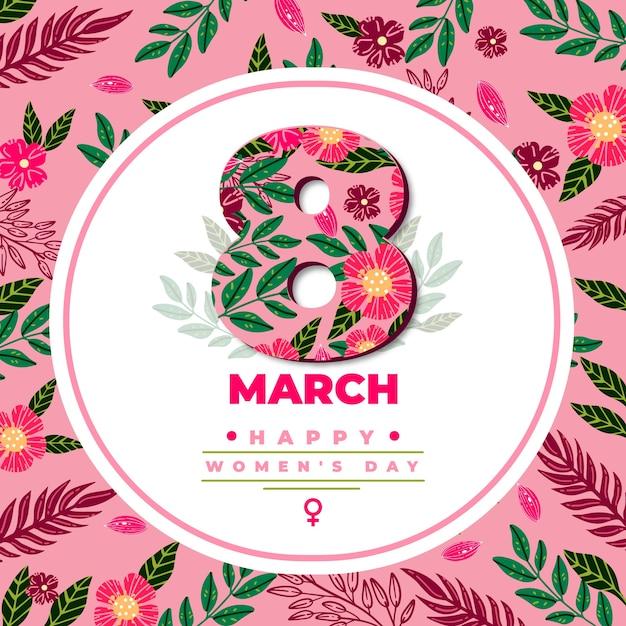 Цветочный женский день с цветами и датой Бесплатные векторы