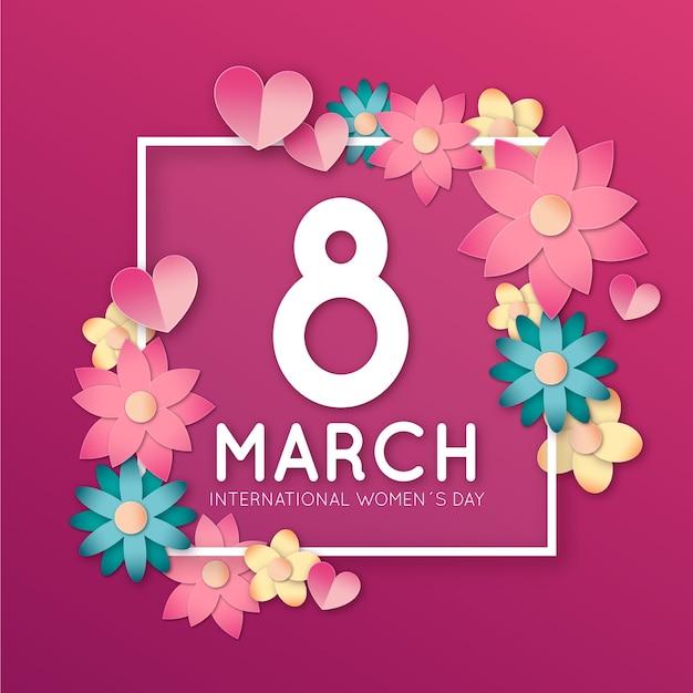 Цветочный женский день с рамкой из цветов Бесплатные векторы