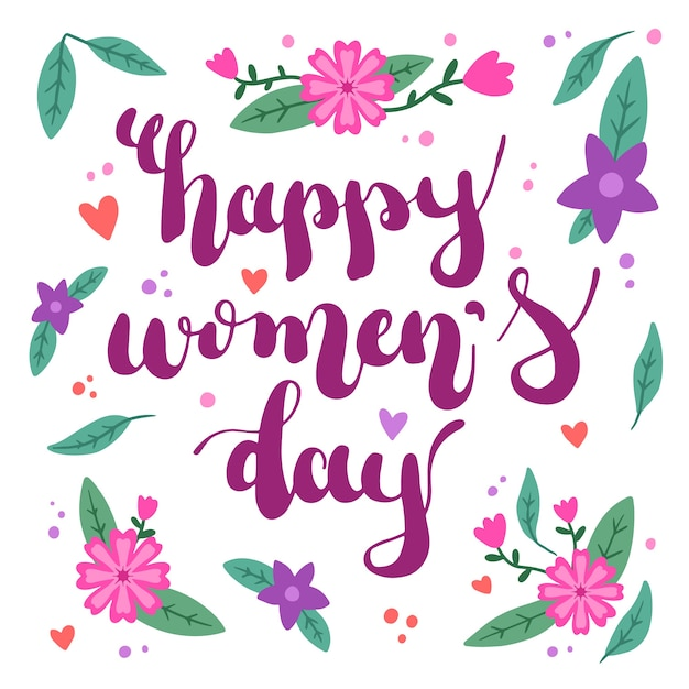 Floral women's day with greeting Free Vector